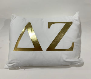 Delta Zeta White Pillow with Gold Letters