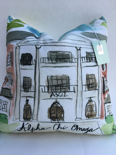 Alpha Chi Omega Watercolor Sorority House Pillow