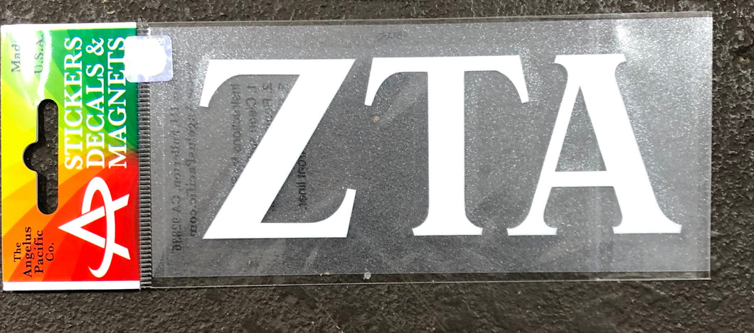 Zeta Tau Alpha White Car Decal