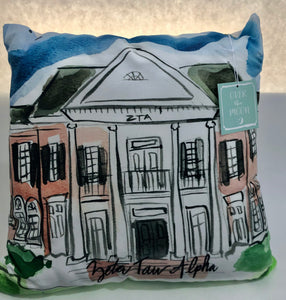 Zeta Tau Alpha Water Color Sorority House Pillow