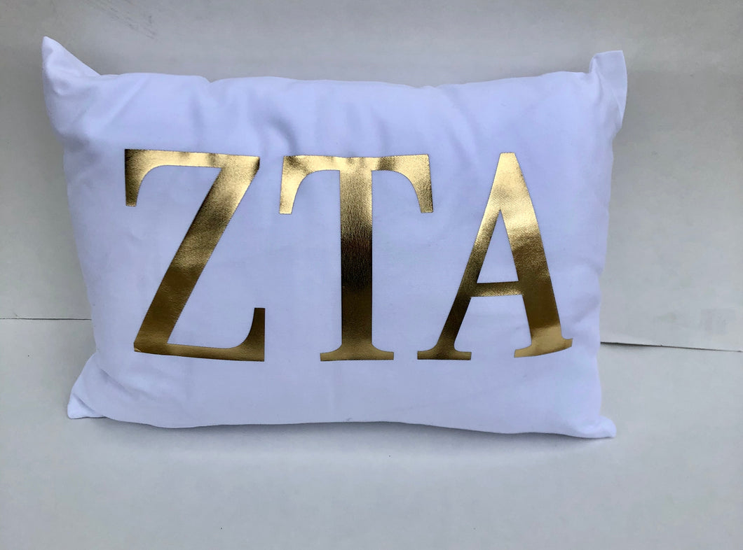 Zeta Tau Alpha White Pillow with Gold Letters