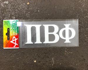 Pi Beta Phi White Car Decal