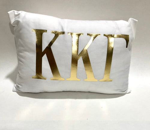Kappa Kappa Gamma White Pillow with Gold Letters