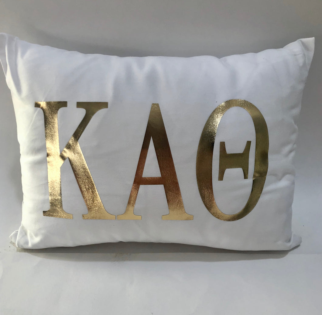 Kappa Alpha Theta White Pillow with Gold Letters