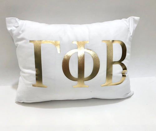 Gamma Phi Beta White Pillow with Gold Letters