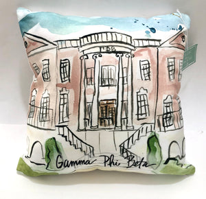Gamma Phi Beta Watercolor Sorority House Pillow