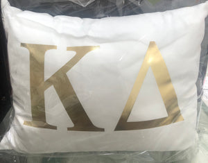 Kappa Delta White pillow with gold letters