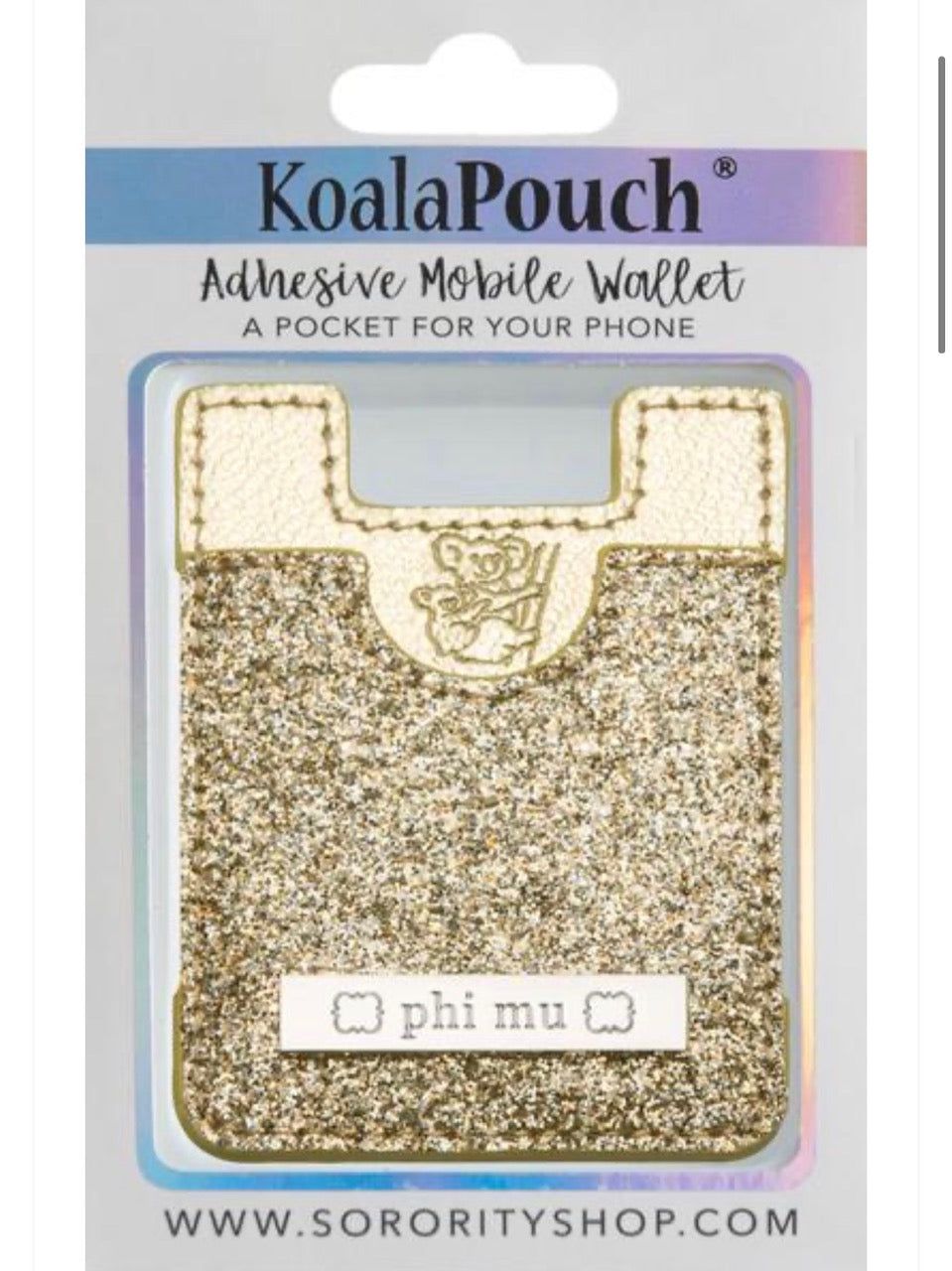 Phi Mu Sparkle Phone Wallet-Gold