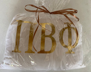 Pi Beta Phi White Pillow with Gold Letters