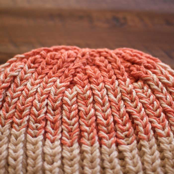 Santiago Fisherman Rib Hat Top (Shown in Zephyr Colors Coral and Sand Dollar)
