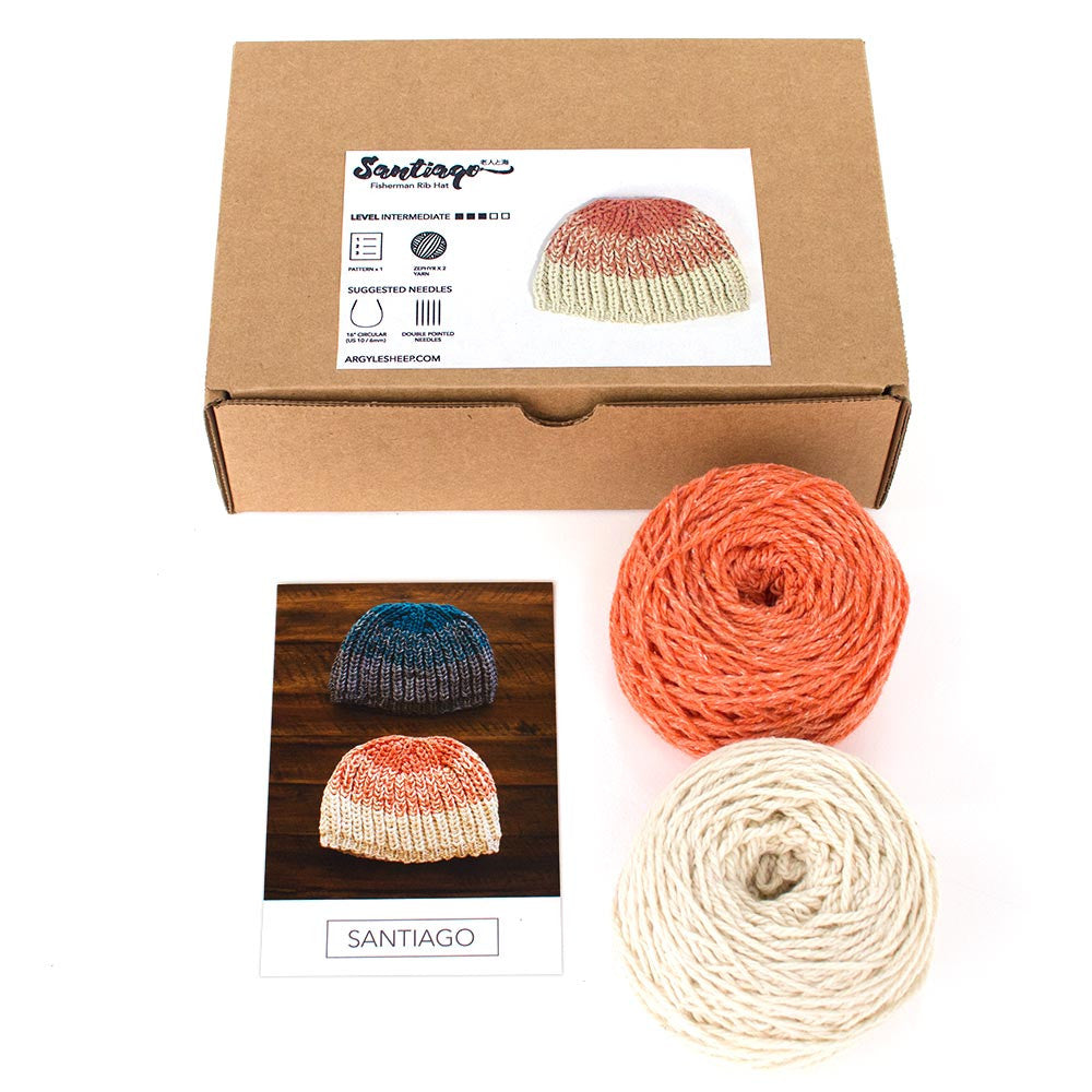 Santiago Hat Kit with included items (2 skeins Zephyr and printed pattern)