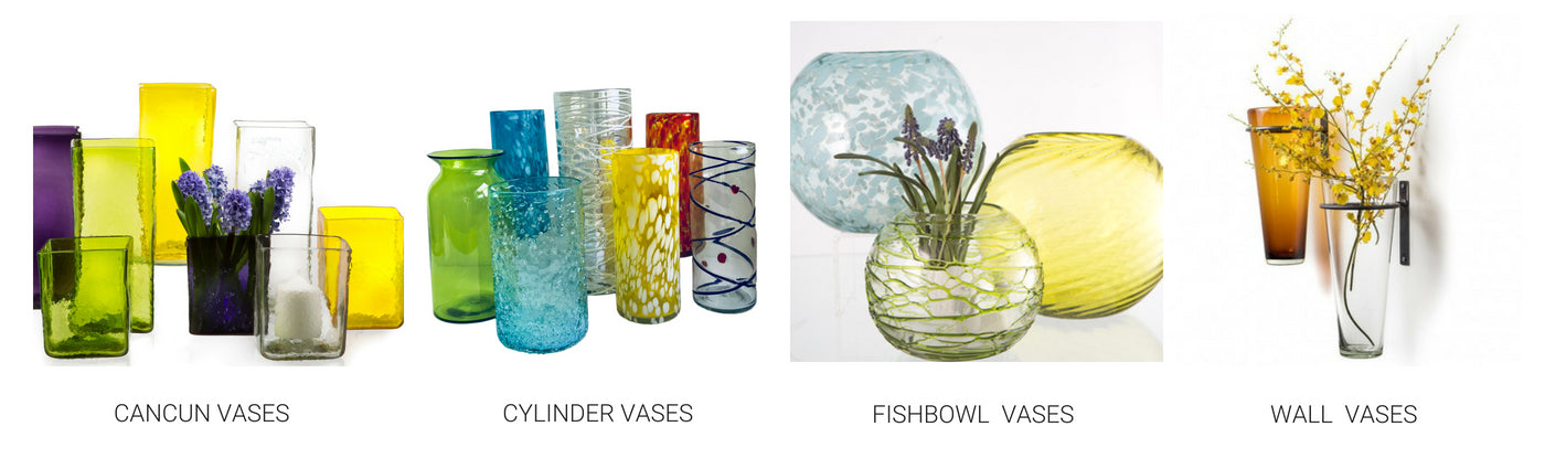 Hand Blown Colored Decorative Glass Vases Tagged Cancun