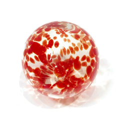 "Sphere - 4.5"" Clear w/Ruby Spots"