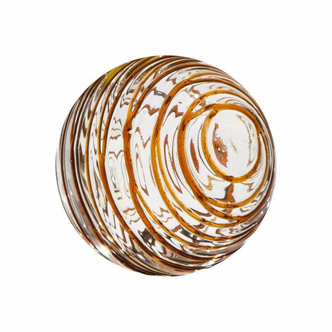"Sphere - 4.5"" Clear w/Amber Threads"