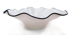 "Dramatic Bowl - 22"" White w/Cobalt Rim"