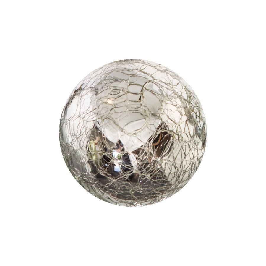 "Sphere - 3"" Silver Crackle"