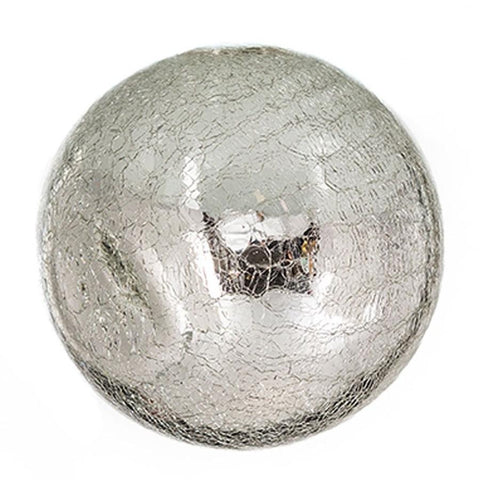 "Sphere - 8"" Silver Crackle"