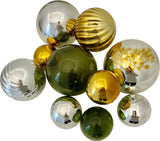 Silver Plated Glass spheres in Silver, Gold and Olive. A stunning Holiday display.