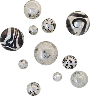 A beautiful 11-piece Wall Art collection of Silver-Plated Glass Spheres composing of Black swirls, Silver w/ Black Spots & Silver Crackled, as well as Solid Silver. Makes a Bold statement.