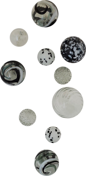 A beautiful ten-piece Wall Art collection of Glass Spheres in Black, White & Smoke color, as well as Clear ice and Whitewash. Makes a Bold statement.