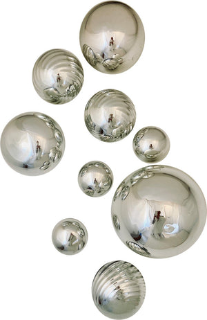 Silver set of 9 Wall Spheres, for a spectacular Wall display!
