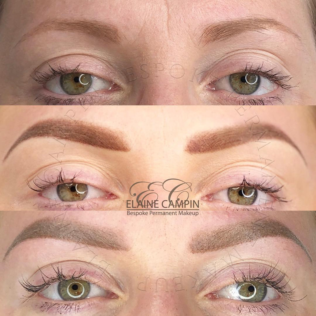Elaine Campin Before Healed and After Results of Machine Powder Brows using Tina Davies x Perma Blend I Love Ink Blonde and Ash Brown Mixed