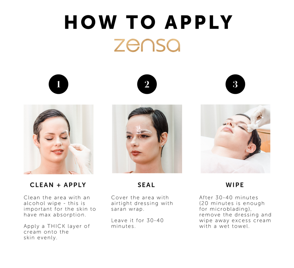 Step 1: Clean + Apply: Clean the area with an alcohol wipe, this is important for the skin to have max absorption. Apply a THICK layer of cream onto the skin evenly.   Step 2: Seal Cover the area with airtight dressing with tegaderm or saran wrap. Leave it on for 30-40 minutes.  Step 3: Wipe After 30-40 minutes (15-20 minutes is enough for microblading) remove the dressing and wipe away excess cream with a wet towel.