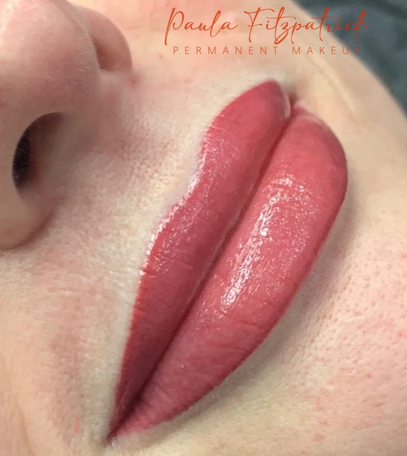Tina Davies Case Study I Love Ink Lip Pigments in Magenta and Dusty Pink Immediately After First Lip Blushing Procedure