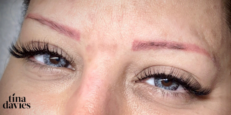 Tina Davies Case Study Color Correction Red Brow to Brown Eyebrows Before Image