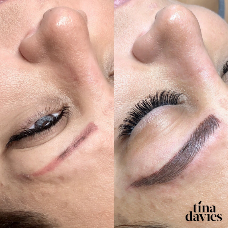 Tina Davies Before and After Correction Permanent Makeup Results from Red brows to brown brows