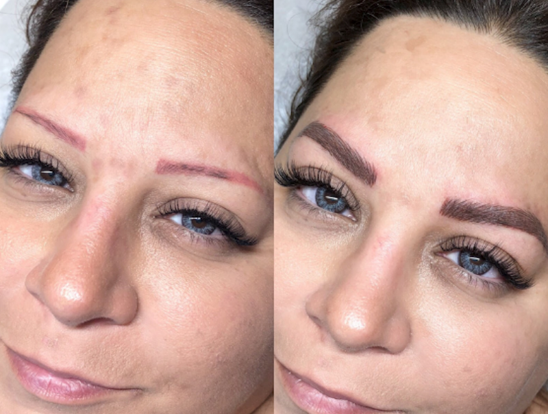 Tina Davies Before and After Correction Case Study from Red to Brown Eyebrows