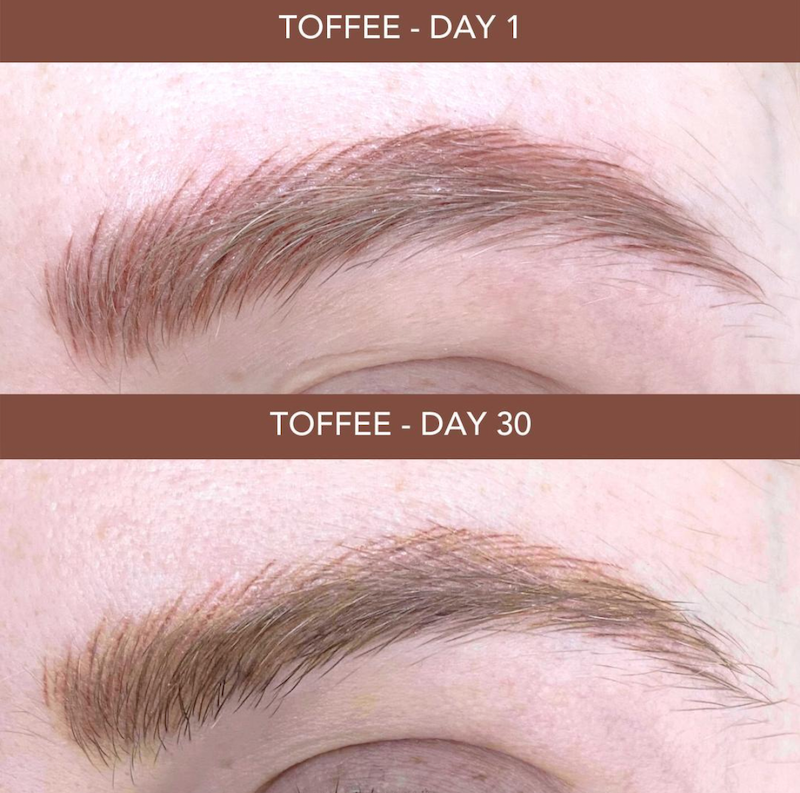 Healing Process of Microblading from Day 1 to Day 30 Tina Davies Eyebrow PMU Pigment in Toffee
