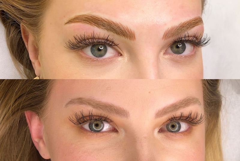 Tina Davies Immediately After and Healed Results of Tina Davies x Perma Blend I Love Ink in Dark Brown and Blonde Eyebrow PMU Pigment