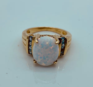 10K Yellow Gold Opal Ring & Blue Topaz Stones
