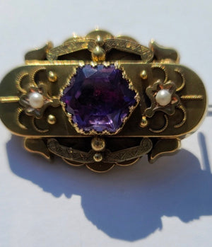 14K Yellow Gold Oval Victorian Hair Brooch