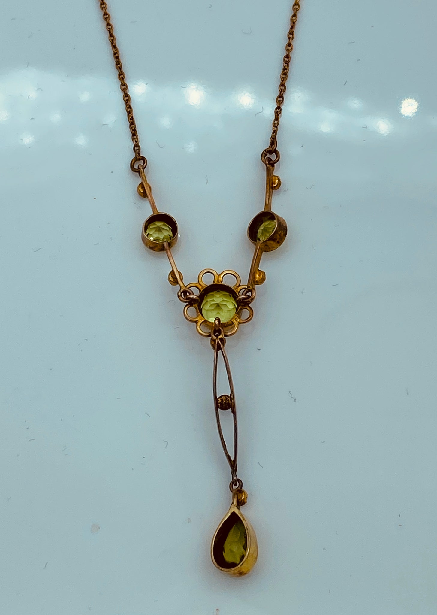 14K Yellow Gold Victorian Seed Pearl Peridot Lavalier Pendant