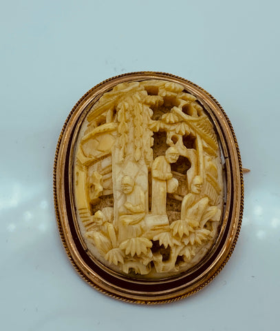 Antique Carved Ivory 9K Rose Gold Brooch