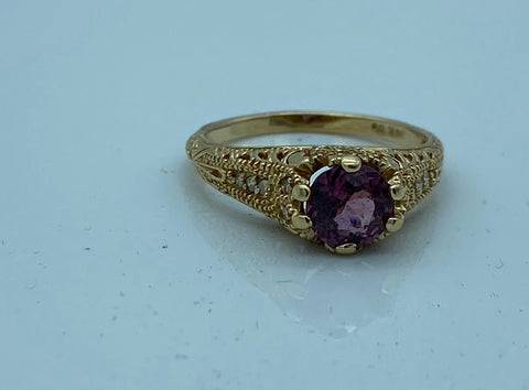 14K White Gold Filigree Ruby Diamond Ring