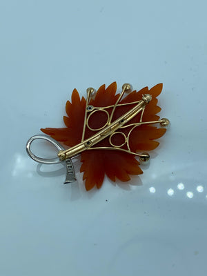 Carved Carnelian Diamond Pearl Brooch