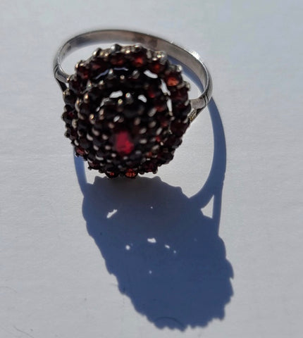 Sterling Silver Ladies Garnet Ring