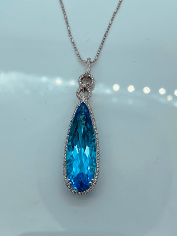 18K White Gold Diamond & Blue Topaz Drop Pendant