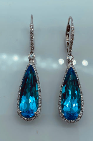 18K White Gold Diamond & Blue Topaz Drop Earrings