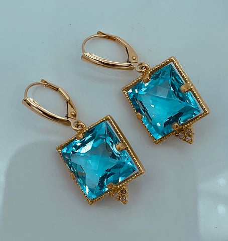 14K Yellow Gold Lever Back Blue Topaz Earrings