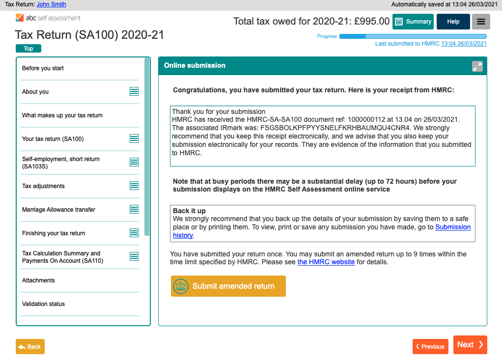 Submissions to HMRC are clearly detailed