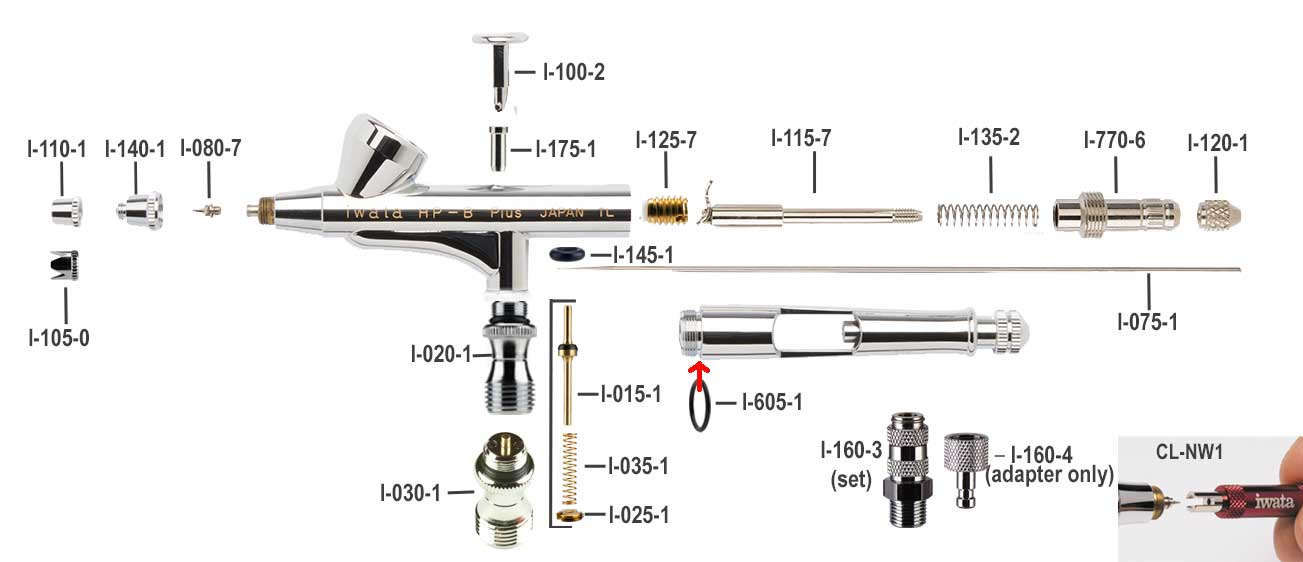 iwata High Performance B plus Airbrush Parts Guide