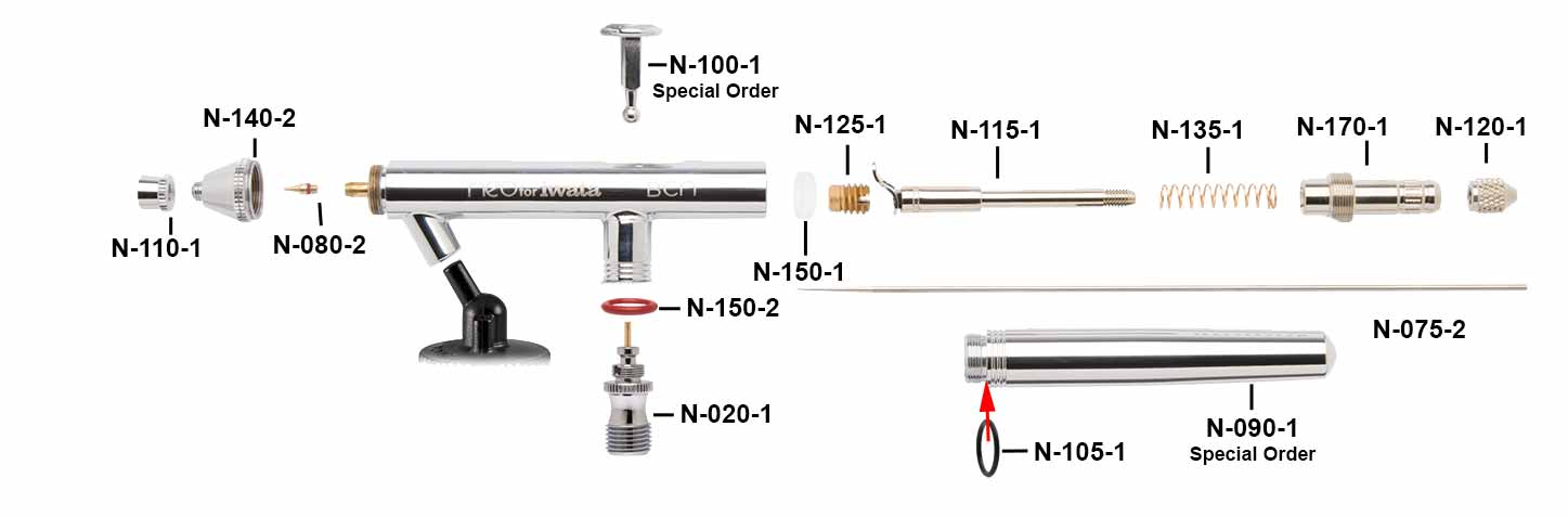 iwata NEO BCN Airbrush Parts Guide