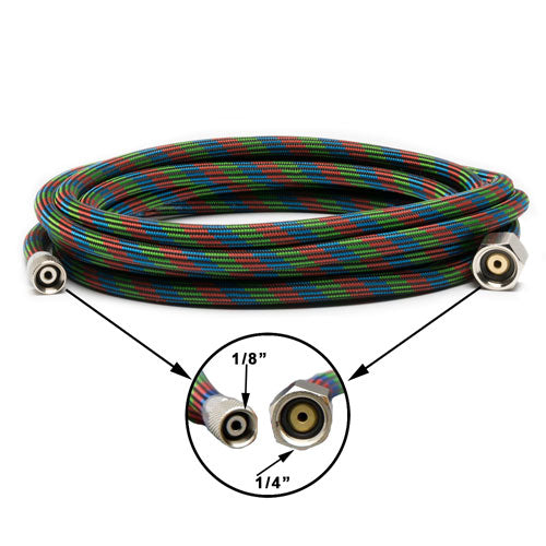 "Iwata Braided Nylon Covered Airbrush Hose with Iwata Airbrush Fitting and 1/4"" Compressor Fitting"
