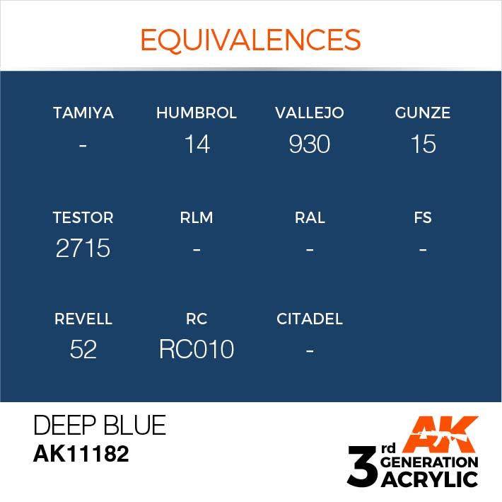 AK Interactive Paint 3rd Gen Paint Cross Reference: Deep Blue AK11182