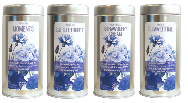 tea tin blue flowers - Tea Desire