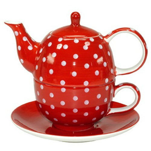 tea for one polka dots red